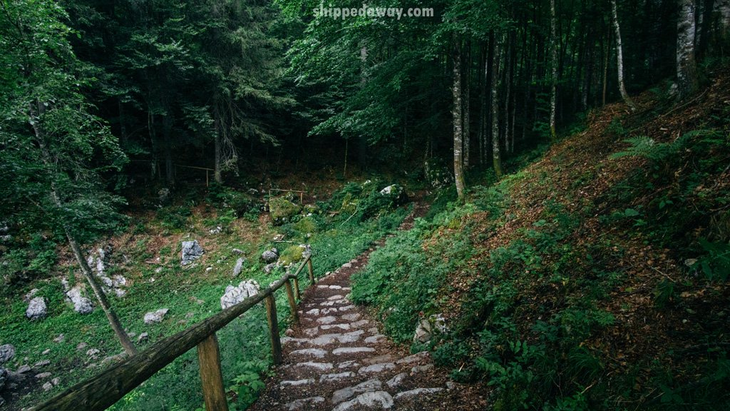 Walking path at Fusine Lakes in Italy