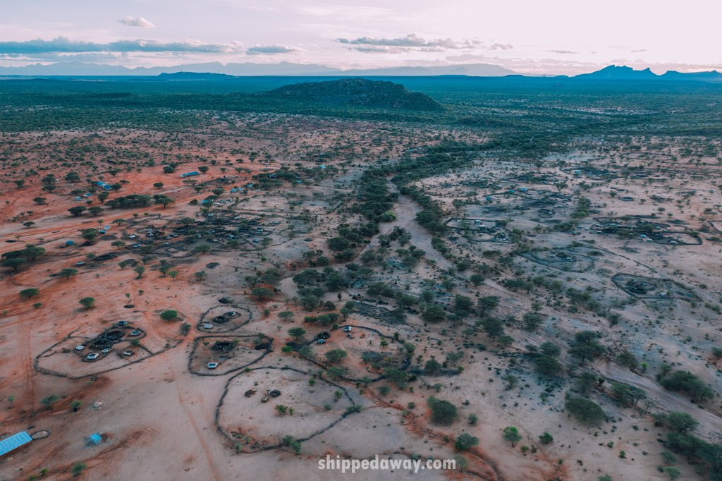 Aerial view of the Maasai Samburu Tribe camp in Kenya