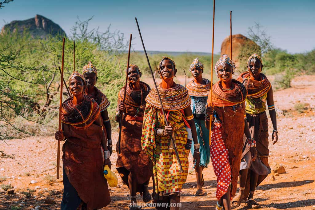 Maasai Samburu tribe women walking from praying session in Kenya