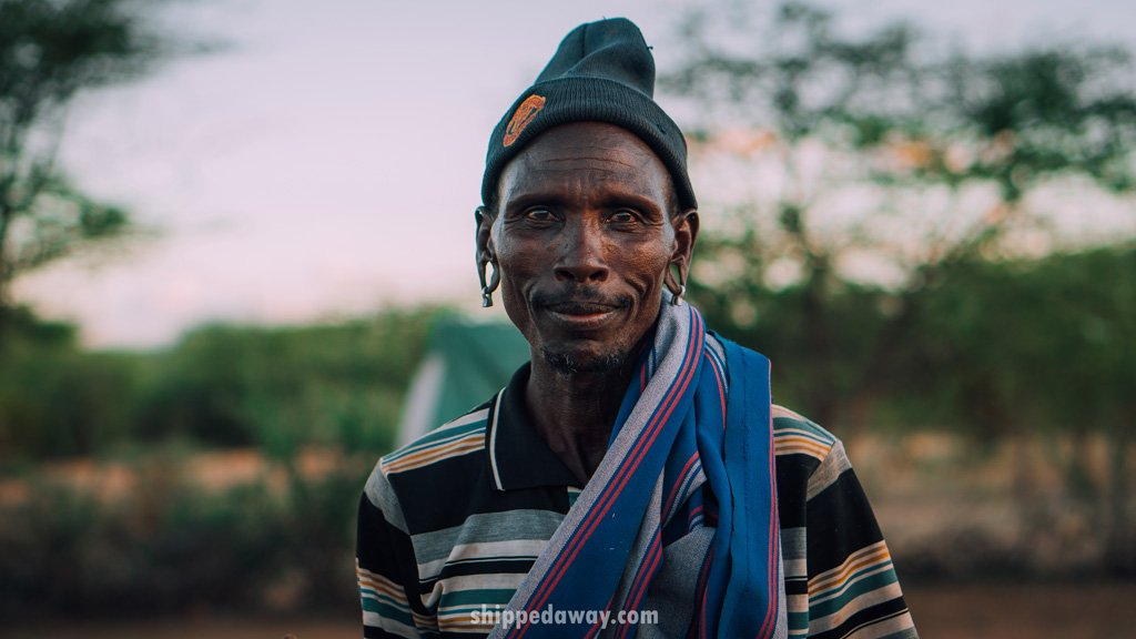 Portrait of a man from the Maasai Samburu tribe in Kenya