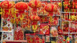 Red and yellow decorations for Tet, Vietnamese New Year