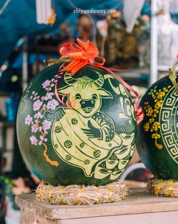 Ox carved into a watermelon for Tet, Vietnamese New Year