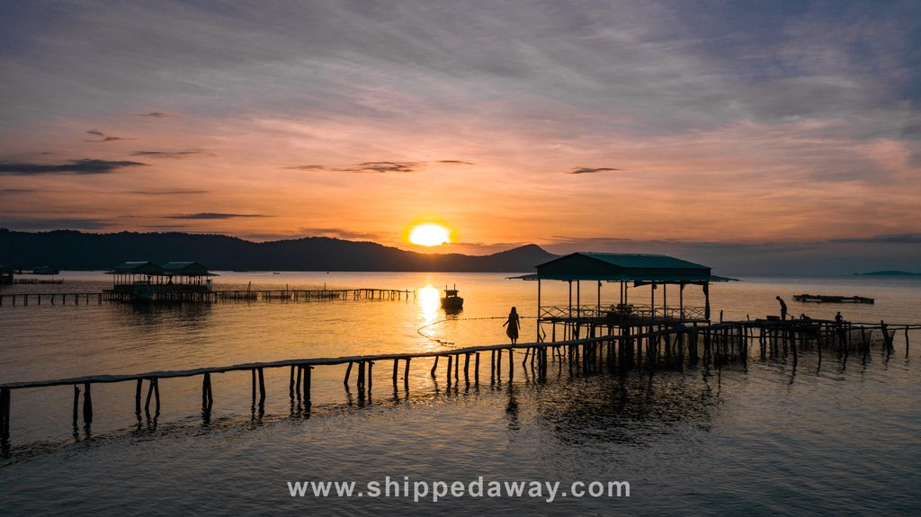 Sunset at a fishing village in Phu Quoc, Vietnam