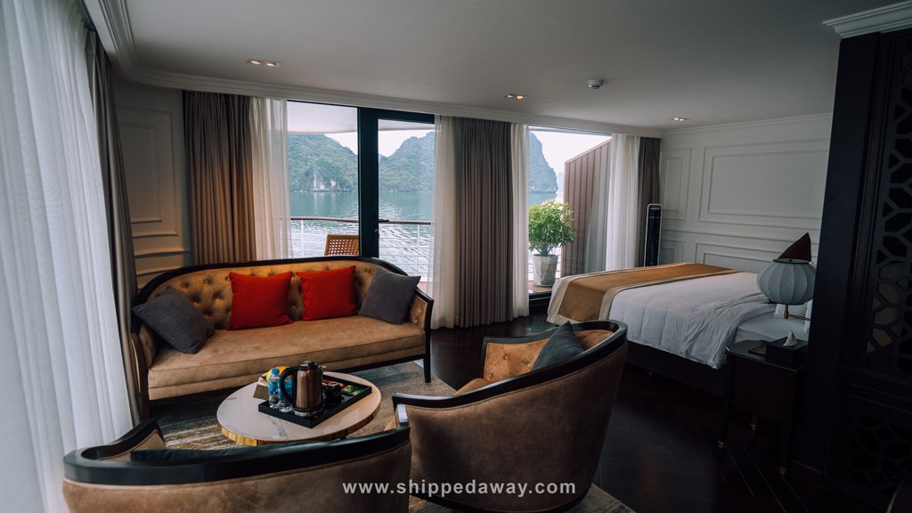 Room with private deck at Capella Cruise Ha Long Bay
