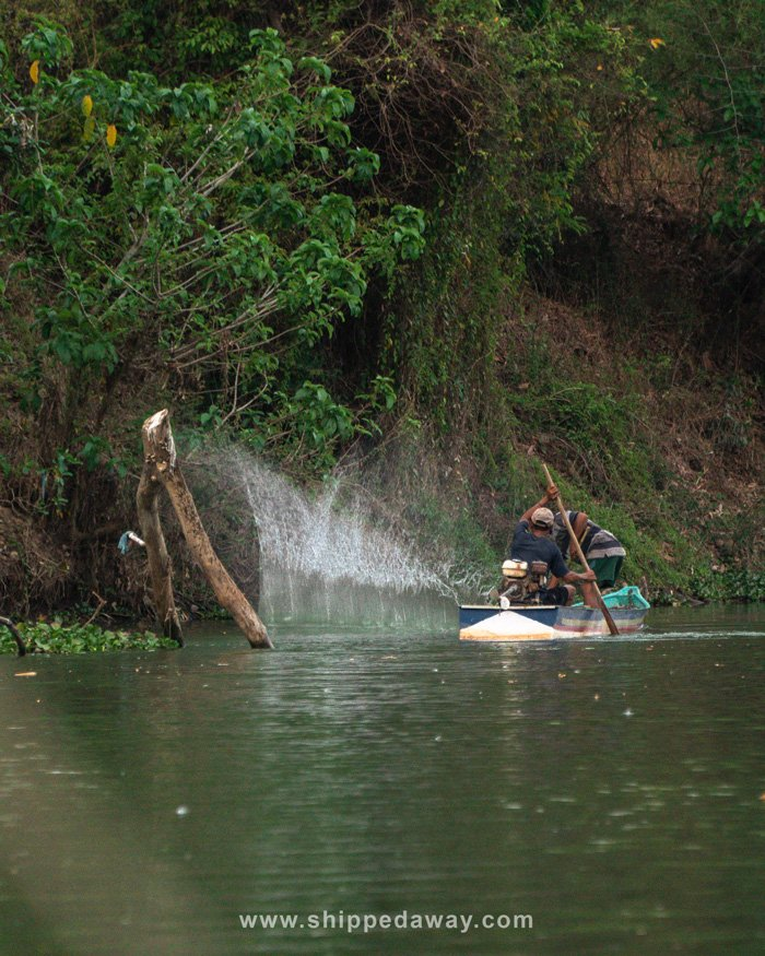 Special kind of fishing by hitting the water seen on the Srepok River