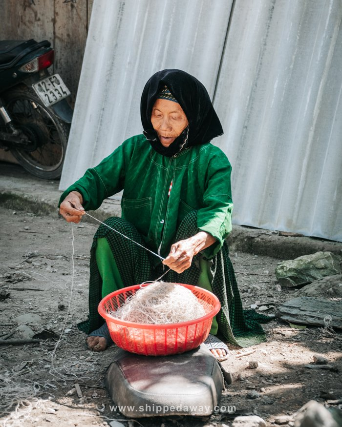 Old lady working in Du Gia, Vietnam
